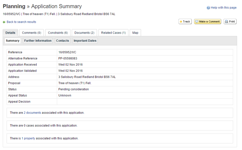 planning-application-summary-page